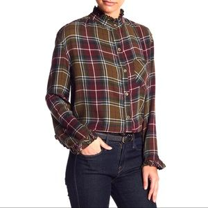 Abound Ruffled Plaid Button Front Shirt Snap Cuffs